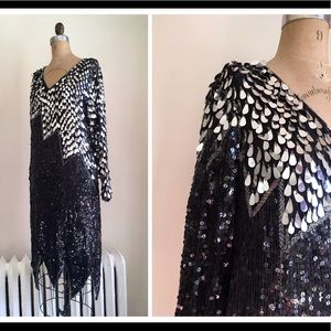 Vintage 80s sequin beaded party dress, flapper